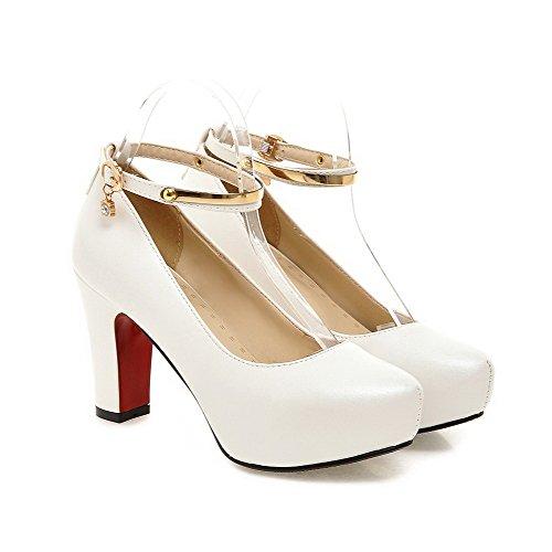 Round di Tacco Women largo Agoolar Toe bianco metallo Studded Closed Buckle con soggiorno HYS5w8qf