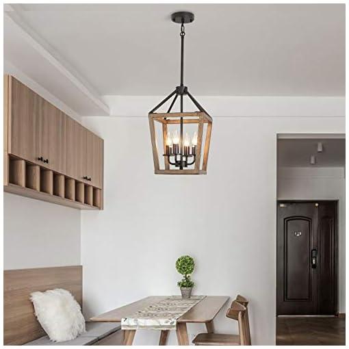Farmhouse Ceiling Light Fixtures Bsyormak Rustic Chandeliers 4-Light Pendant Lighting, Adjustable Height Semi-Flush Ceiling Light, Farmhouse Chandelier… farmhouse ceiling light fixtures