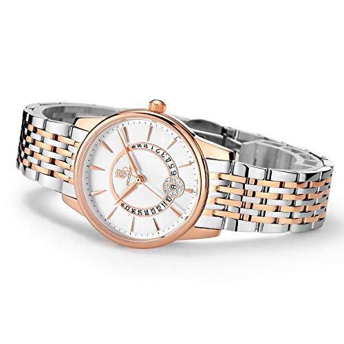Women's Wrist Watch ROCOS Japanese Quartz Rose Gold Dress Watch with White Dial Ladies Crystal Analog Watches Luxury Classic Elegant Gift #R0120 (Silver) Drive Womens Bangle Style Watch