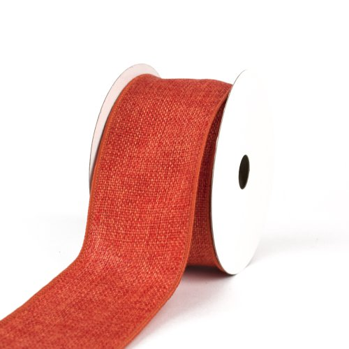 Creative Ideas Wired Burlap Ribbon, 2-1/2-Inch, Orange -