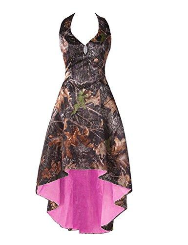 LEJY Women's Halter Hi-Lo Camo Bridesmaid Dresses Camoflage Wedding Party Gowns Pink 22