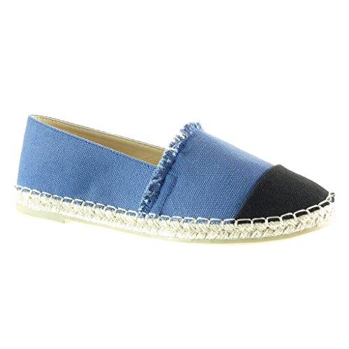 Angkorly - Chaussure Mode Espadrille Mocassin slip-on femme tréssé corde Talon bloc 1 CM - Bleu
