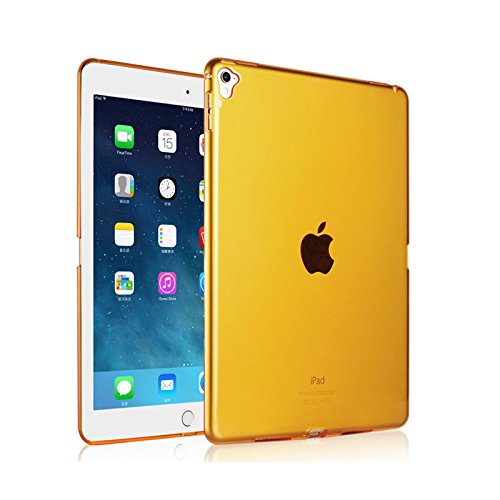 Price comparison product image iPad Pro 9.7 Case,  iCoverCase Ultra-thin Silicone Back Cover Clear Plain Soft TPU Gel Rubber Skin Case Protector Shell for Apple iPad Pro 9.7 (Orange )
