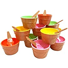 Plastic Ice Cream Cups with Spoons, Festive Dessert Bowls, Assorted Colors (12 Piece Party Pack)