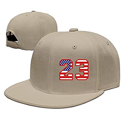 PeaceTown Number 23 with The USA Flag Design Solid Flat Bill Hip Hop Snapback Baseball Cap Unisex Sunbonnet Hat.