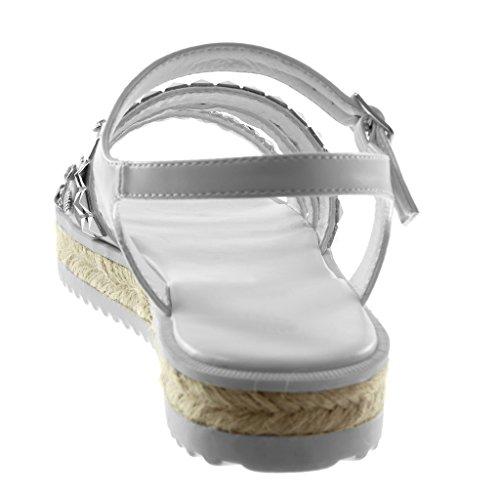 Tachonado Perla Tobillo Multi Cm Mules Mujer correa Blanco Zapatillas 3 Correa Moda Plataforma Angkorly Sandalias De wU6Pxf7TYq