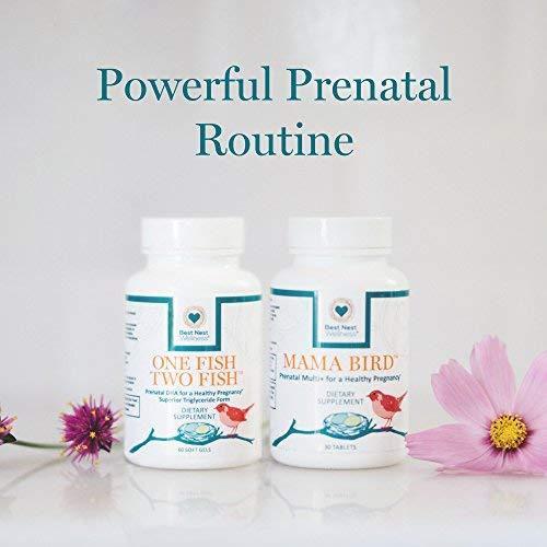 Mama Bird AM PM Prenatal Multivitamin, Methylfolate (Folic Acid), Methylcobalamin (B12), 100% Natural Whole Food Organic Herbal Blend, Vegan, Twice Daily Vitamin, 60 Ct