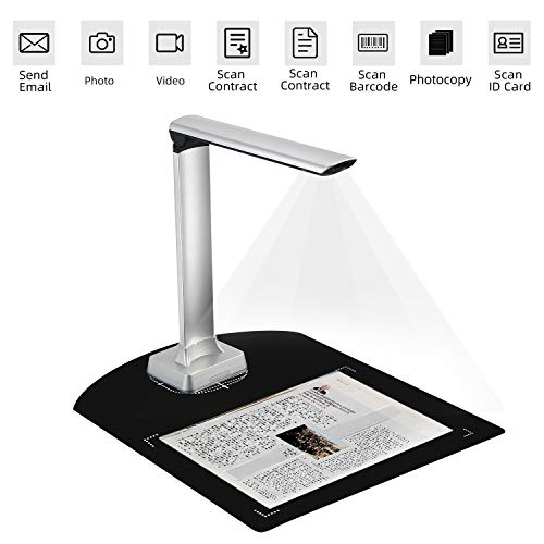 Book Document Scanner Camera,Koolertron Portable Automatic Scanning Auto Focus 12MP High Definition Camera Capture A4 Size,Multi-Language OCR Convert Images to Word/Excel/PDF/TXT,Powerful Software