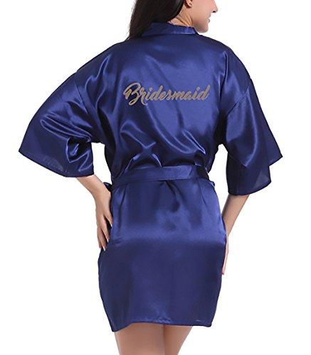 Navy Accappatoio Cintura Donna Hippie Notte Scollo Camicia Estivo Kimono Tinta Vestaglia Pigiami Blue Corto Unita Con Da Sposa V HaiDean Giovane q14HxAw