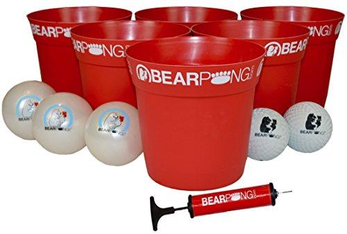 Bearpong Deluxe Game Set: 12 BEARPONG Buckets, 3 BEARPONG Balls, 2 Beach Balls, 1 Ball Pump with Carrying Case, and Instructions (Red) (Pool Bear)