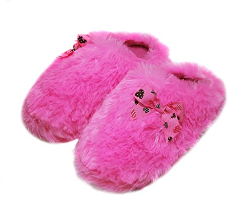 Onmygogo Girls Fuzzy Winter Indoor Slippers with Printed Ribbon (US Kid Size 12-13, - Slippers Pink Ribbon