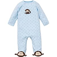 Little Me Baby-Boys Newborn Monkey Star Footie, Light Blue, 3 Months
