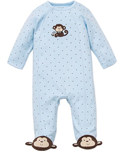 Little Me Baby-Boys Newborn Monkey Star Footie, Light Blue, 3 Months