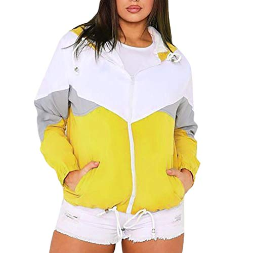 LisYOU Women's Color Block Hooded Casual Thin Windbreaker Jacket(L,Yellow)