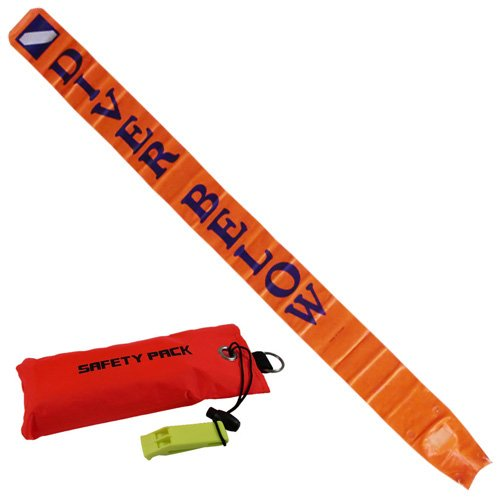 (Scuba Choice 6' Surface Marker with Pouch and Whistle)