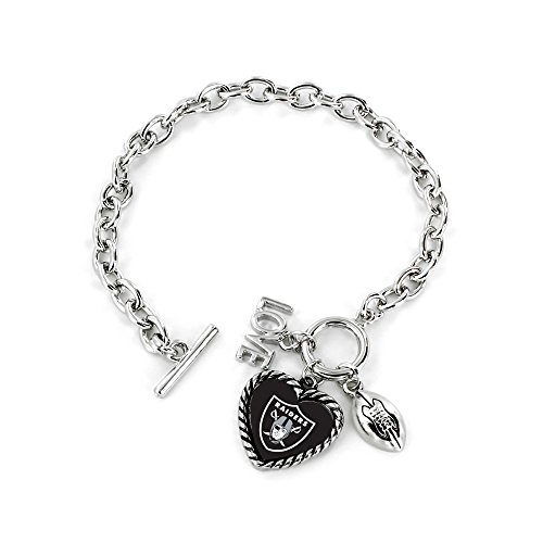 aminco NFL Oakland Raiders Charmed Love Football Bracelet