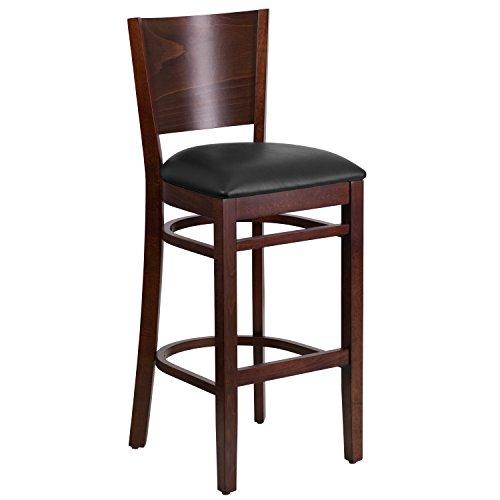 Flash Furniture Lacey Series Solid Back Walnut Wood Restaurant Barstool – Black Vinyl Seat