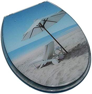 RBZCCP 降順サイレント樹脂家庭用トイレの蓋付き便座ビーチのV/U/O型ユニバーサルトイレカバー、簡単にインストールするには40〜48 * 33〜38センチメートル ほとんどのトイレに適合