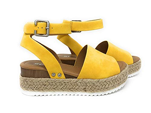 SODA Casual Espadrilles Trim Rubber Sole Flatform Studded Wedge Buckle Ankle Strap Open Toe Sandal (7 M US, Yellow)