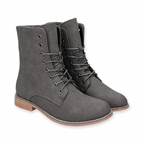Damen Stiefel mit Blockabsatz | Schnür Boots im bequemen und modischen Design | Winter Stiefeletten Schuhe | Gr. 36 bis 41 | Japanolo | Grau EU 37
