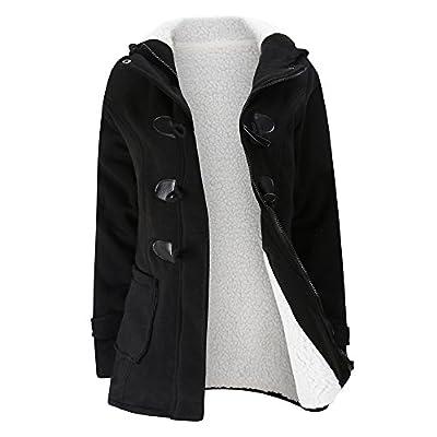 Fleece Coat for Women, Sunyastor Popular Keep Warm Hooded Windbreaker Outwear Wool Slim Zipper Long Coat Jacket