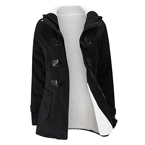 iLUGU Casual Womens Hoodies Keep Warm Windbreaker Outwear Wool Slim Long Coat Jacket Trench Hooded Long Sleeve ()