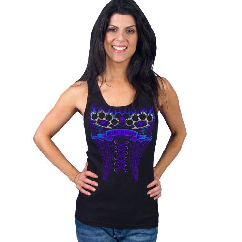 (Hot Leathers Brass Knuckles Corset Ladies Biker Tank Top (Black, Medium))