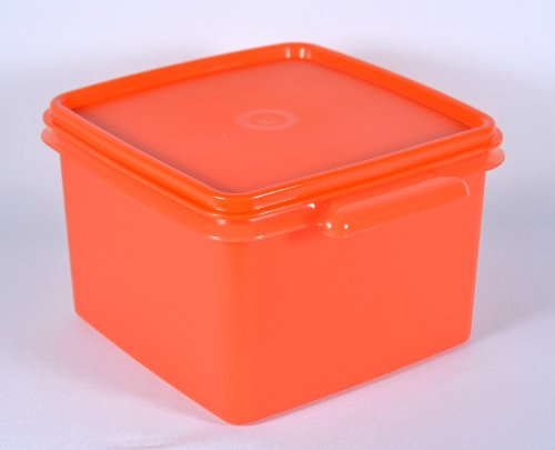 Tupperware 4 Cups Square Kitchen Storage Canister in Orange
