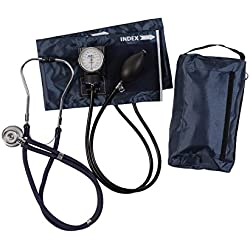 MABIS MatchMates Aneroid Sphygmomanometer and Sprague Rappaport Stethoscope Combination Manual Blood Pressure Kit with Calibrated Nylon Cuff, Navy Blue