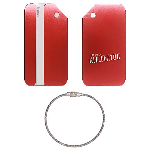 STRAY KIDS HELLEVATOR STICKER STAINLESS STEEL - ENGRAVED LUGGAGE TAG - SET OF 2 (SCARLET RED) - FOR ANY TYPE OF LUGGAGE, SUITCASES, GYM BAGS, BRIEFCASES, GOLF BAGS