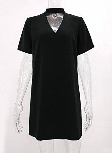 Futurino - Vestido - Manga corta - para mujer negro