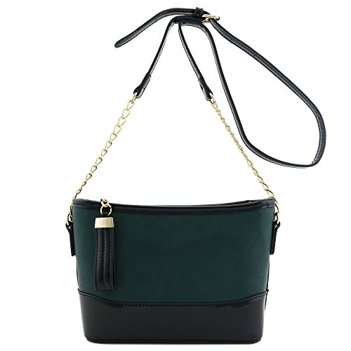 Patent Contrast Teal Chain Shoulder Bag with Strap Leather Trim 8wZIAq0nZ