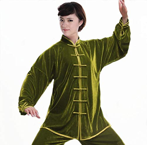 WUYIN Pleuche Warm Tai Chi Uniform Martial Arts Kung fu Suits in Winter Tai Chi Martial Arts Clothes/Tang Suits (Size Chart in Last Photo) (XXXL, Plain ()