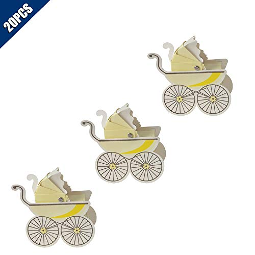 Carriage Folded Notes - KOOBOOK 20Pcs Pram Trolley Shape Candy Boxes Wedding Favor Baby Shower Party Gift Carriage Gift Box(Self Assembly)-Yellow