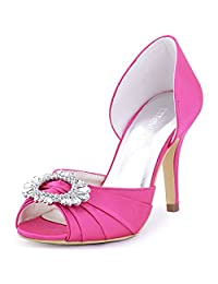 ElegantPark A2136 Women Women Satin Peep Toe Ruched Rhinestones Pumps High Heel Evening Prom Shoes