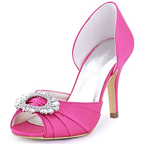 ElegantPark A2136 Women High Heel Pumps Peep Toe Brooch Ruched Satin  Evening Prom Wedding Shoes Hot Pink US 7