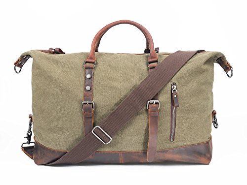 Leather Canvas Duffel Bags Extra Large Travel Handbag Oversized Strap Weekend Gym Totes (Army Green) For Sale