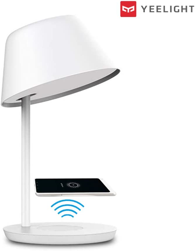 Yeelight Dimmable Wifi Smart LED Lámpara de mesa táctil con control de voz, carga inalámbrica, 2700K-6500K Temperatura de color ajustable (18W Pro)