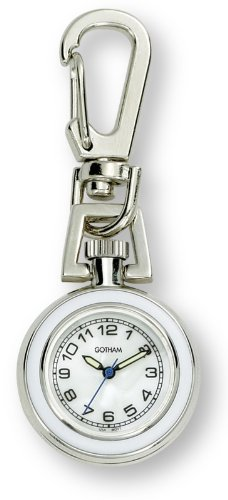 Chain Tone Watch Pocket Silver (Gotham Unisex Silver-Tone Analog Quartz Keychain Clip Fob Watch # GWC18107-7)
