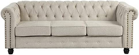 Morden Fort Couches for Living Room, Sofas for Living Room Furniture Sets, Sofa, Fabric, Linen Beige
