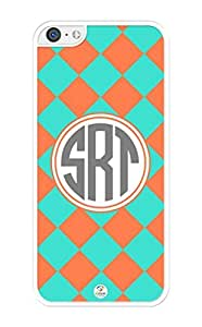 iZERCASE Monogram Personalized Coral and Turquoise Plaid Pattern iPhone 5C Case - Fits iPhone 5C T-Mobile, AT&T, Sprint, Verizon and International (White) by supermalls