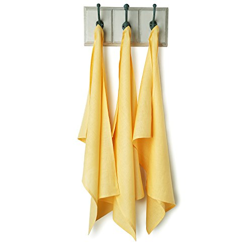 Solino Home 100% Pure Linen Oversized Kitchen Towel, 3 Pack Linen Dish Towel With Loop for Hanging, 20 x 30 Inch Canary Yellow Kitchen Towel - Canary Kitchen Towel
