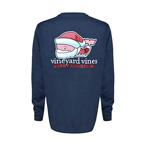Vineyard Vines Men's Long-Sleeve Graphic Pocket T-Shirt (Santa Claus Whale, M)