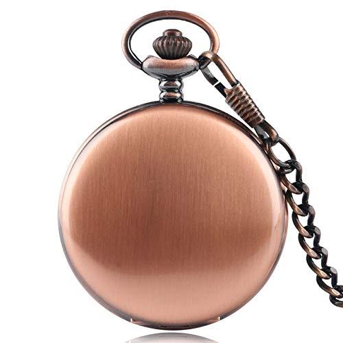 Antique Gold Hunter Case - Antique Stylish Smooth Red Copper Case Pocket Watch   Quartz Fob Chain Pendant   Steampunk Full Hunter Vintage   Gift for Men Women   Men's Pocket Watches