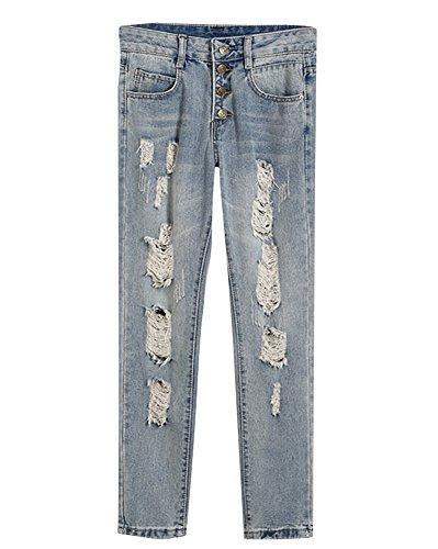 Lunghi Strappato Denim Pantaloni Donna Jeans Chiaro Azzurro Stretch Leggings Boyfriend Matita 51EwX1qY