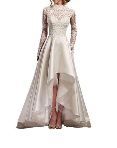 La_Marie Braut Elfenbein spitze Langarm Hi-lo Hochzeitskleider Vintag Brautkleider Brautmode A-linie Rock