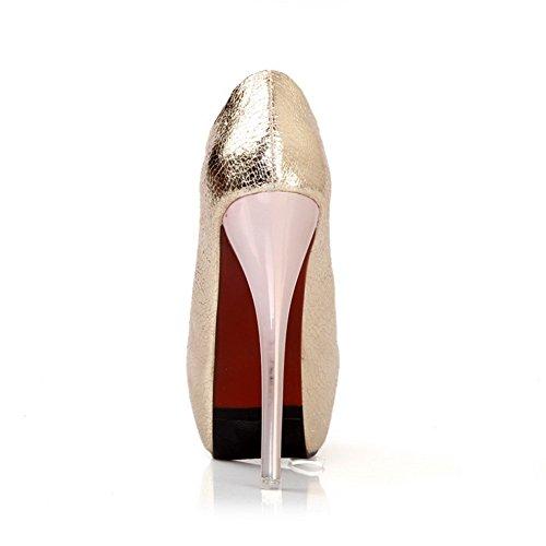 AmoonyFashion Womens Open Peep Toes High Heel Platform Soft Material PU Solid Pumps Gold gGhUQT