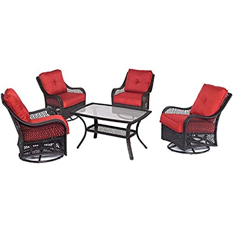 Hanover Orleans 5 Piece Patio Chat Set in Autumn Berry - Orleans Patio Furniture