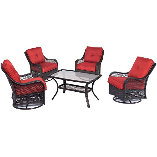 Hanover Orleans 5 Piece Patio Chat Set in Autumn Berry