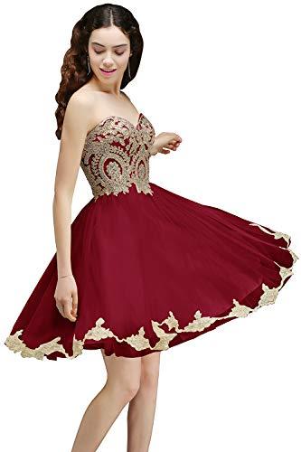 MisShow Women's Gold Lace Applique Short Cocktail Homecoming Dresses Burgundy US10